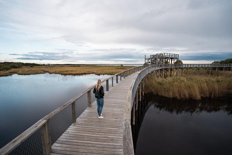 A young woman on the Pärnu hiking trail.