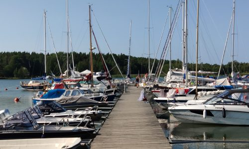 Boats in small port.
